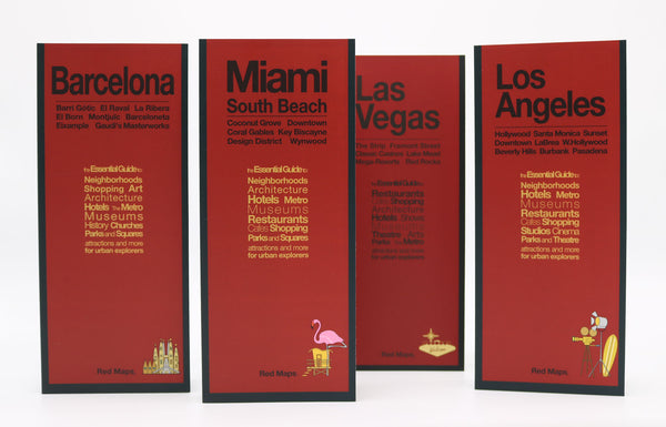Four foldout city maps with red covers to Barcelona, Miami, Las Vegas and Los Angeles