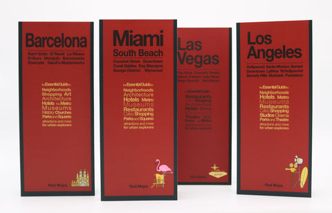 four maps with red covers to the warm weather cities of Miami, Barcelona, Las Vegas, and Los Angeles.
