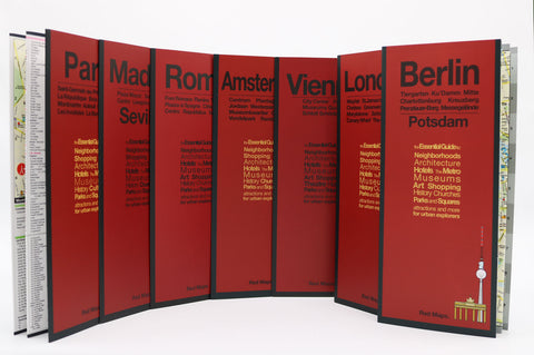 Seven city maps with red covers that highlight European culture in London, Paris, Berlin, Vienna, Amsterdam, Madrid and Rome.