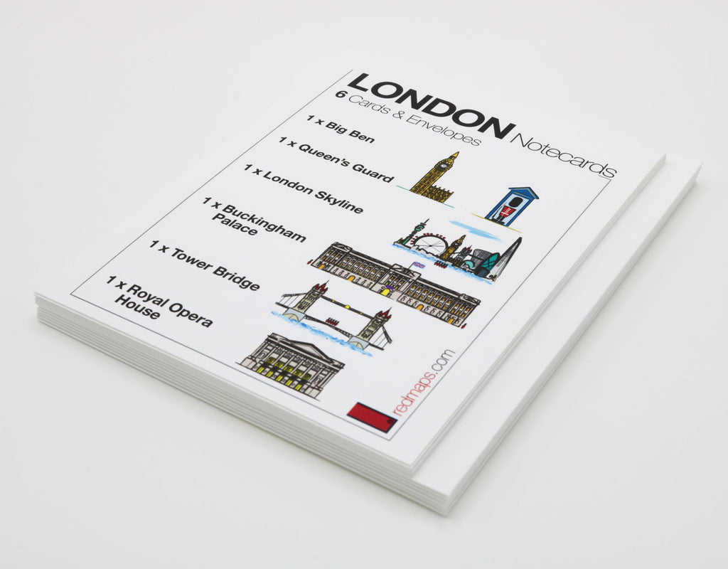 Set of notecards that have drawings of famous London landmarks.