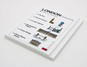 Set of London-themed notecards with drawings of famous London landmarks