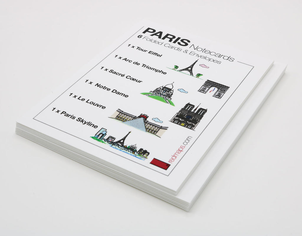 Set of notecards that have drawings of famous Paris Landmarks.