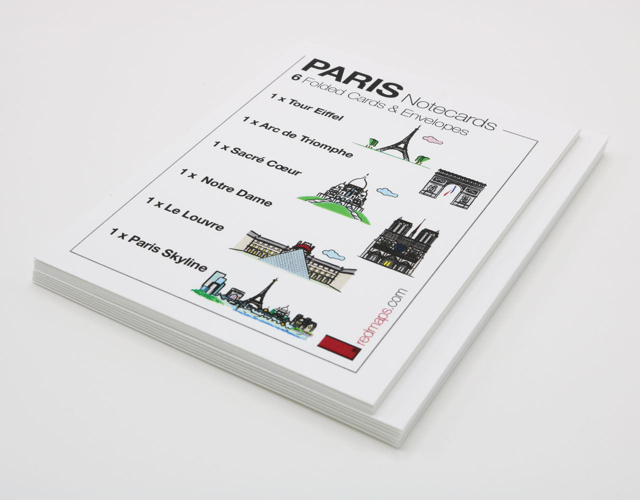 Set of Paris-themed notecards with drawings of famous Paris landmarks
