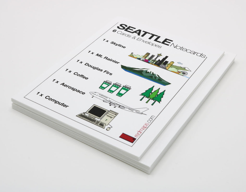 Set of notecards that have drawings of iconic things associated with Seattle.