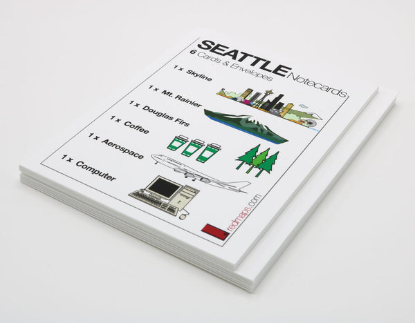 Seattle-themed notecards with drawings of famous Seattle landmarks and iconic Seattle products