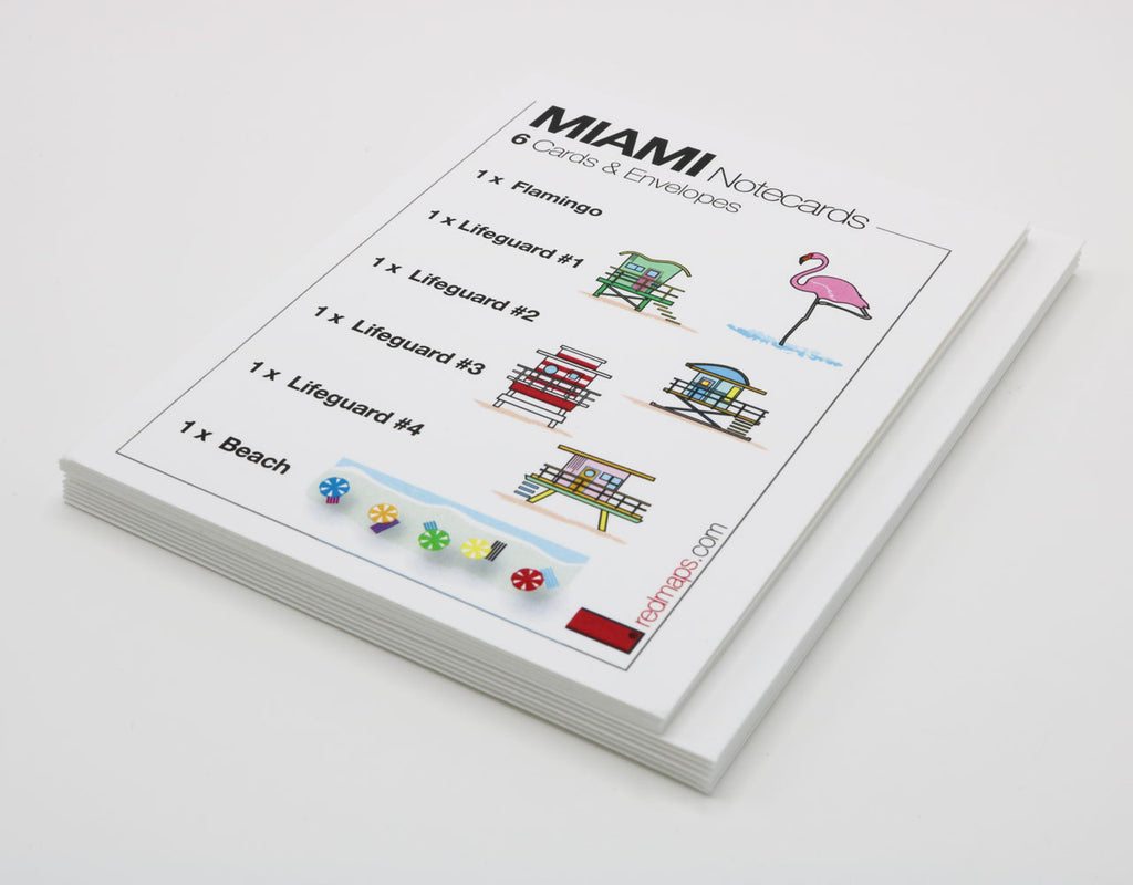 Miami Beach themed stationery with images of lifeguard stations, a Flamingo and beach umbrellas.