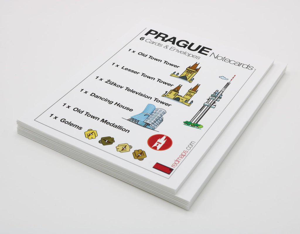 Set of notecards that have drawings of famous Prague landmarks.