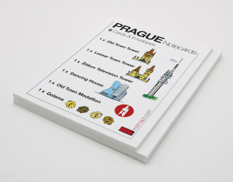 Prague-themed notecards with drawings of famous Prague landmarks Lesser Tower and Old Town Tower