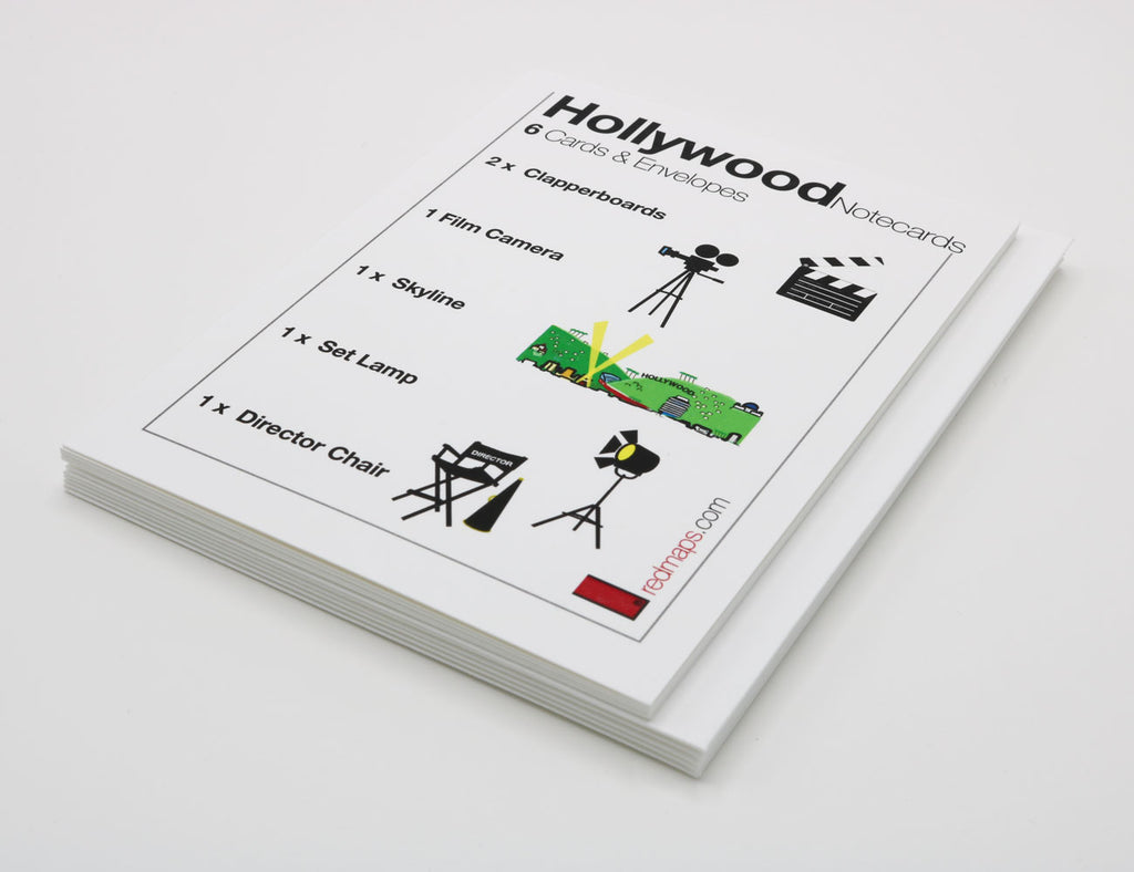 Set of notecards that have drawings of Hollywood film making equipment.
