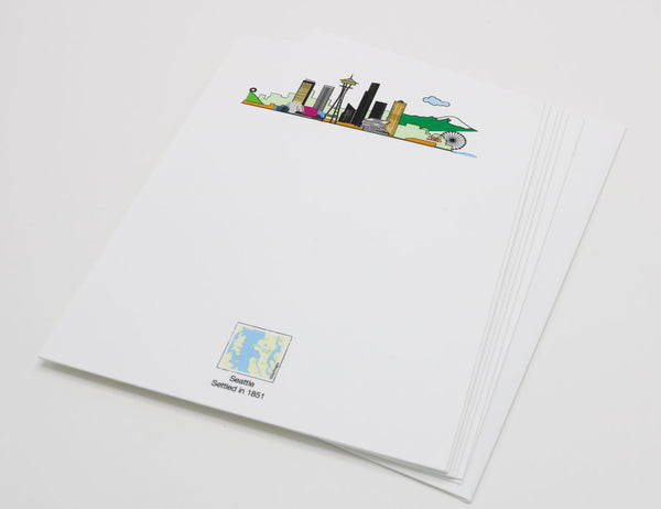 Stationery with drawing of Seattle's skyline with the Space Needle and Pike Place Market