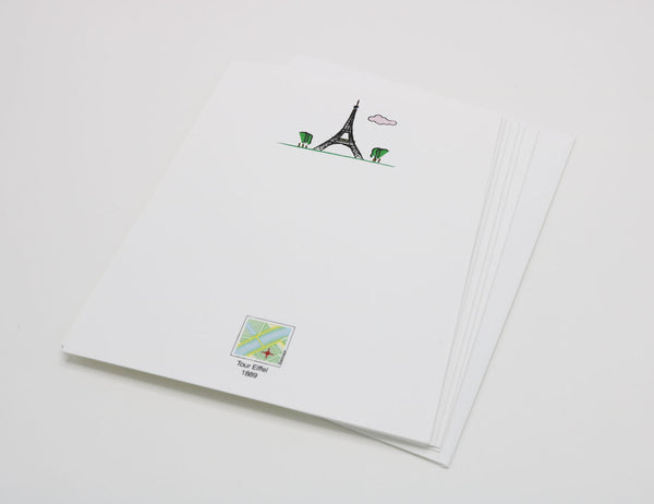 Stationery with drawing of Eiffel Tower and a pink cloud