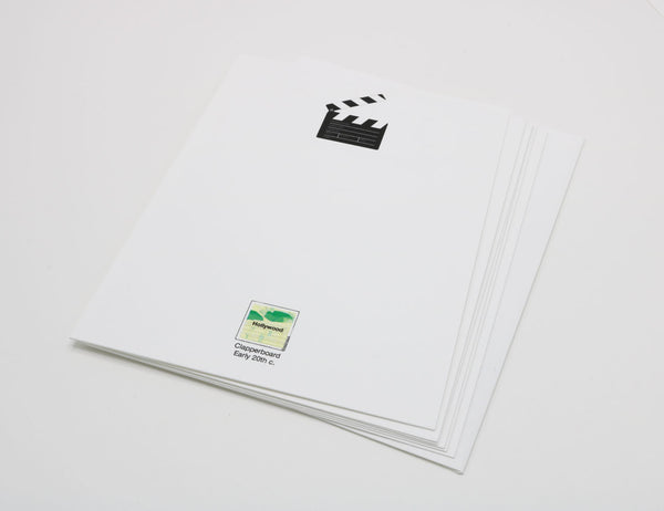 Stationery with image of a movie action clapperboard