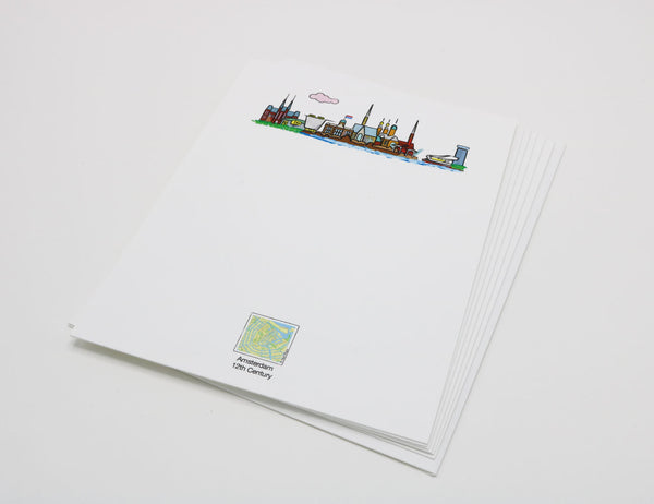 Stationery with an illustration of the Amsterdam skyline