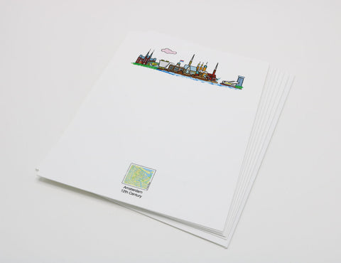 white notecard that has an image of the Amsterdam skyline.