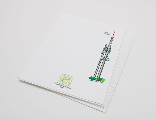 Stationery with drawing of Prague's Zizkov Television Tower