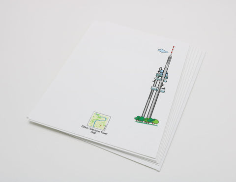 white notecard that has an image of Prague's Zizkov TV and Radio Tower.