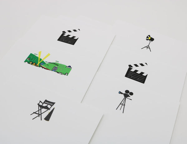 Stationery with images of movie-making equipment, camera, lights, directors chair, clapperboard