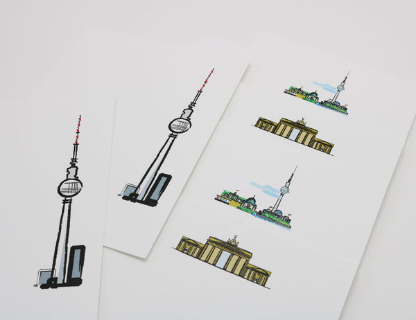 Stationery with images of Brandenburg Gate, the Fernsehturm Tower and the Berlin Skyline