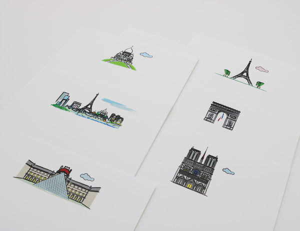 Notecards with cartoonish drawings of Paris Landmarks, Notre Dame, Arc de Triomphe, Louvre, Sacre Couer, Paris Skyline