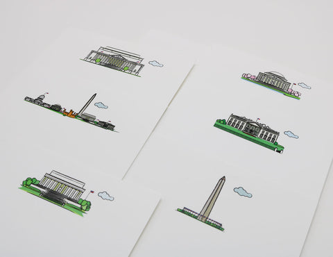 set og white notecards that have images of famous Washington Landmarks, including Washington Monument and the Lincoln Monument.