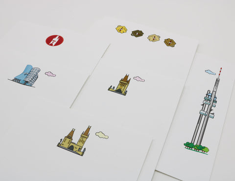 Prague themed stationery that has images of Old Town Prague landmarks and icons.