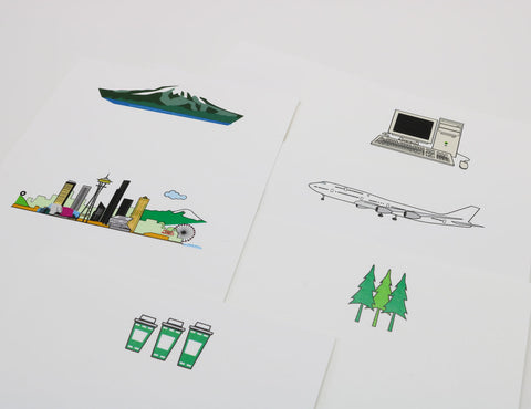 Seattle Landmarks themed notecards with images of iconic Seattle products, computers, coffee and a Boeing 747.