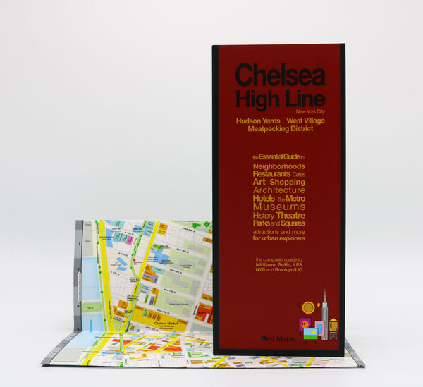 Foldout map showing the Chelsea and High Line Park neighborhoods' shopping, restaurants, museums, art galleries and cafes, with nearby NYC subway stations.