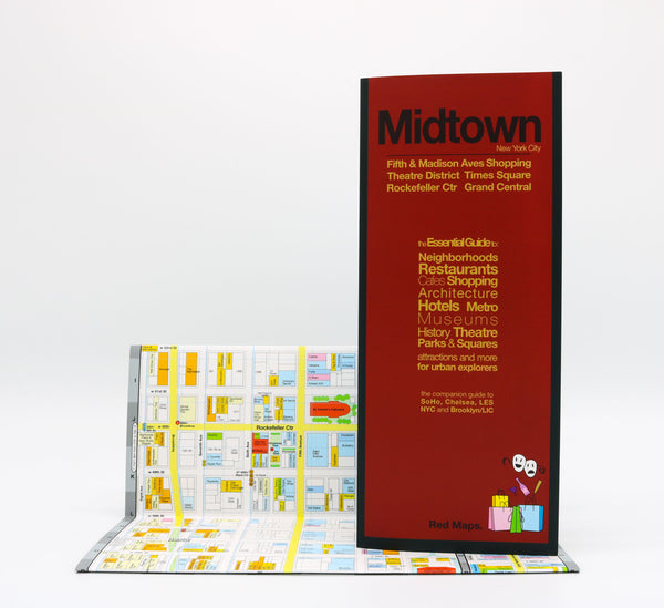 Foldout Midtown Manhattan map showing restaurants, hotels, museums, landmarks, and subways, in block-by-block detail.