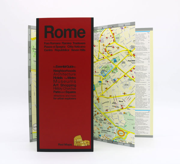 Foldout map of Rome Italy that shows museums, historic landmarks, pilgrimage churches, and Rome's Metro stations.