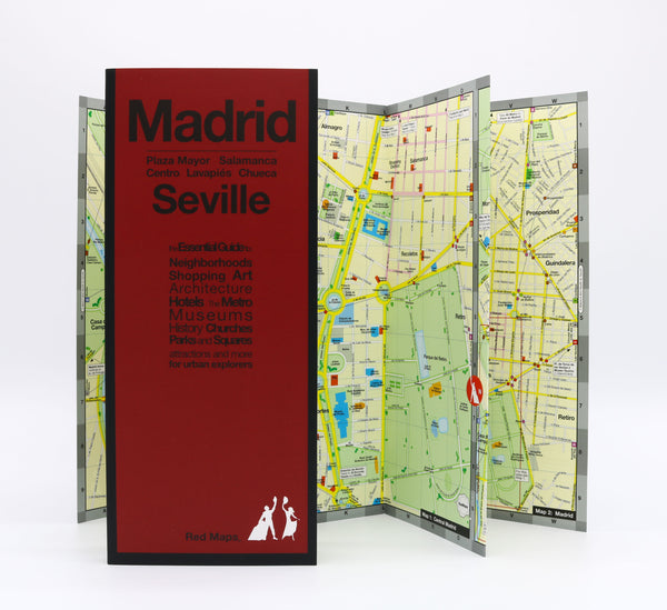 Foldout map of central Madrid, that shows Madrid parks, museums, landmarks, hotels and metro stations.