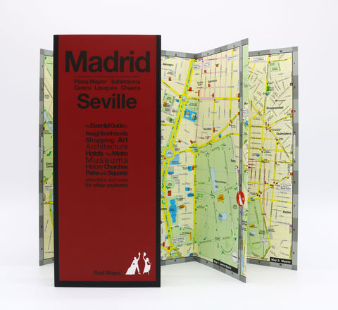 Foldout maps of Madrid and Seville that show historic landmarks and important tourist attractions.