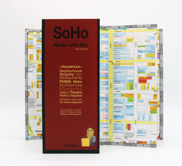 Foldout shopping map SoHo and Nolita neighborhoods in NYC with restaurants, hotels, museums and subways, in block-by-block detail.