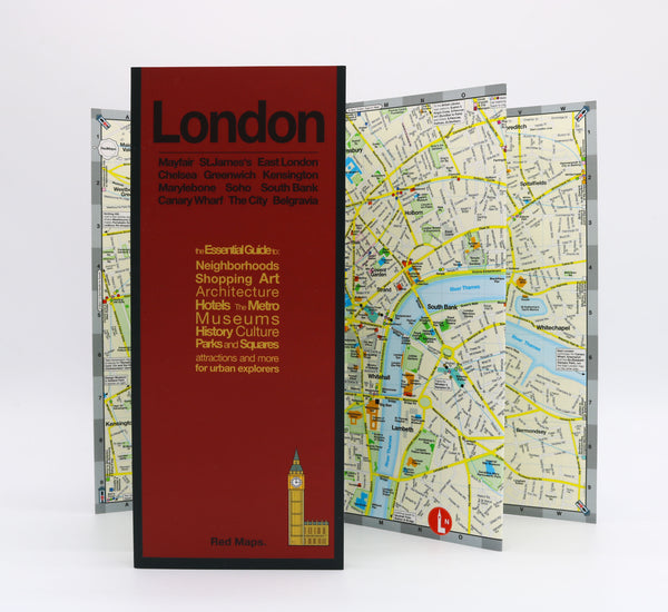 Foldout map of central London that shows historic landmarks, museums, parks, and nearby Tube stations.