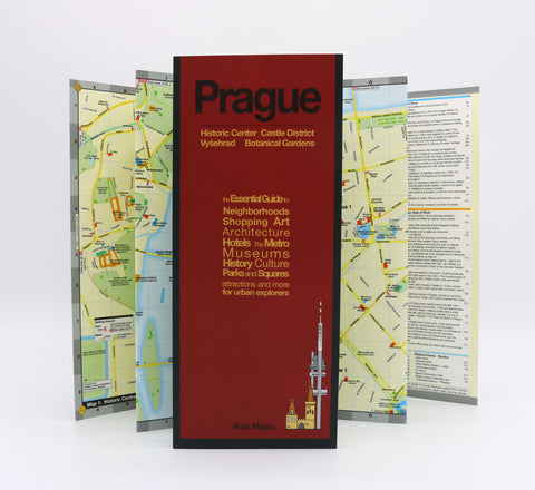 Foldout map of Prague that shows detailed information about historic buildings and landmarks.