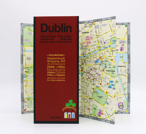 Foldout map of Dublin Ireland that shows the historic landmarks in Dublin's center.