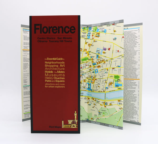 Foldout map of Florence Italy that has museums, hotels and historic landmarks in the city center.