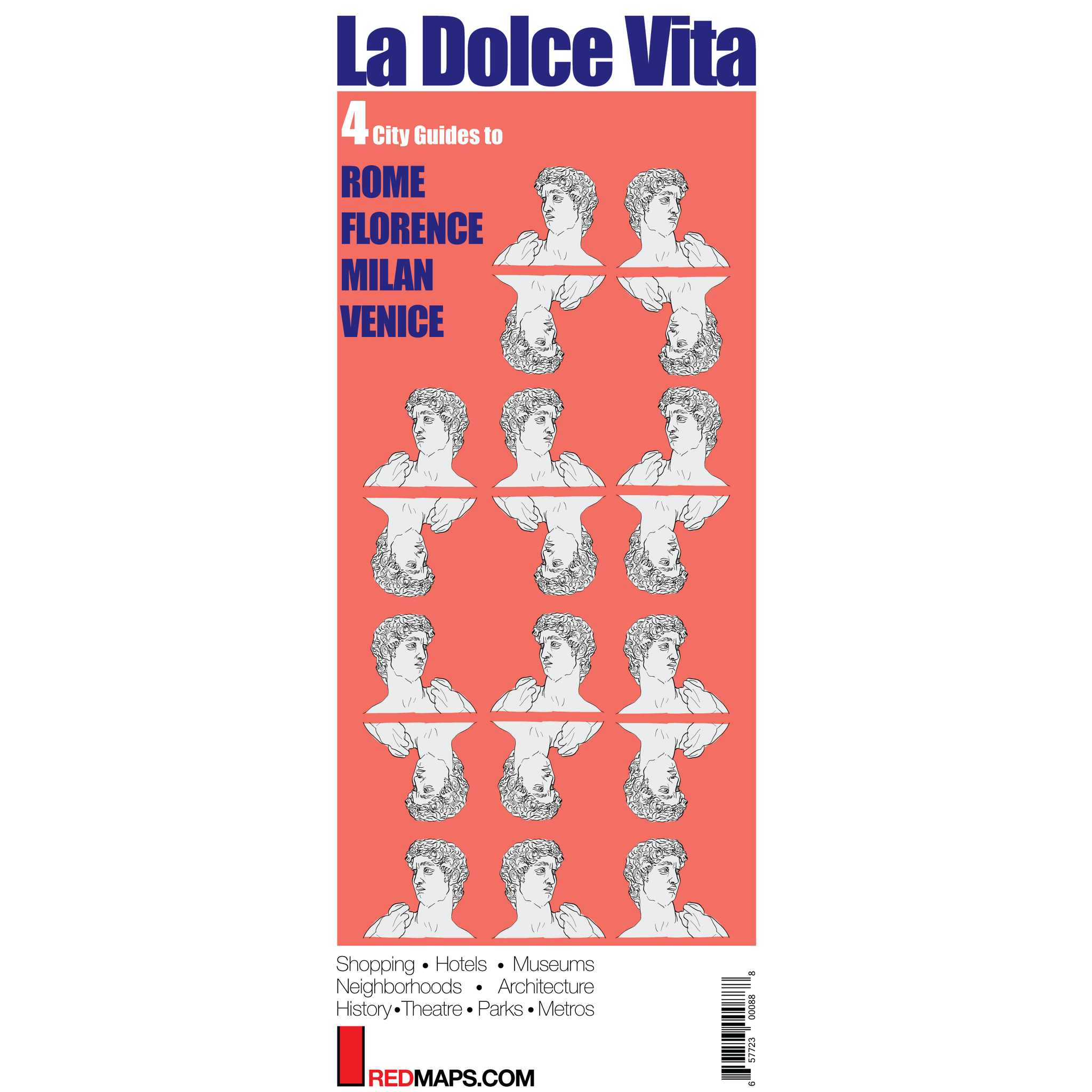 Multi-City map set called La Dolce Vita with 4 cultural guides to Rome, Milan, Venice and Florence