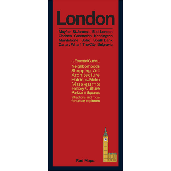 foldout map of London with a red cover