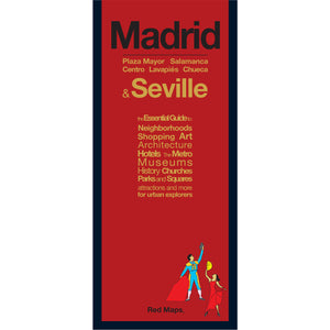 foldout map with a red cover of Madrid and Seville