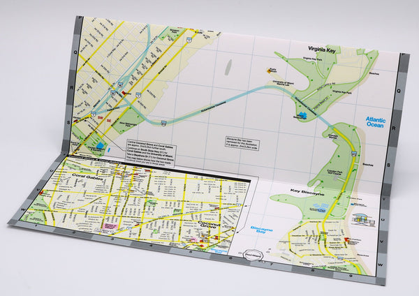 Foldout Miami tourist map with Coconut Grove restaurants and shopping.
