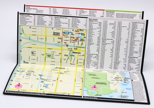 Foldout Miami tourist map with Design District art galleries, restaurants and shopping.