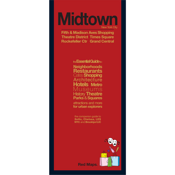 foldout map of Midtown Manhattan with a red cover