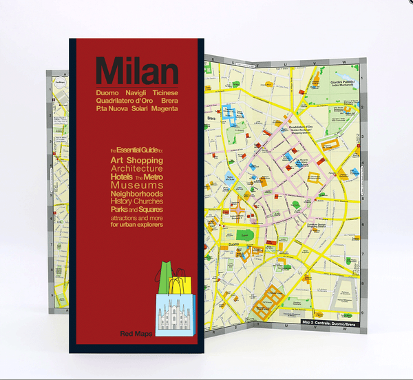 Foldout map of central Milan that shows the shopping district, museums, landmarks, hotels, and metro stations.