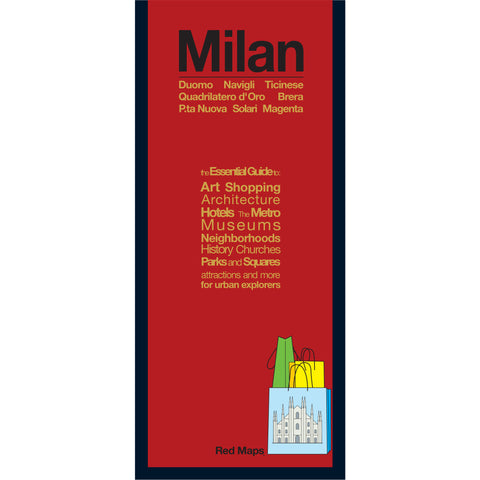 foldout map of Milan Italy with a red cover