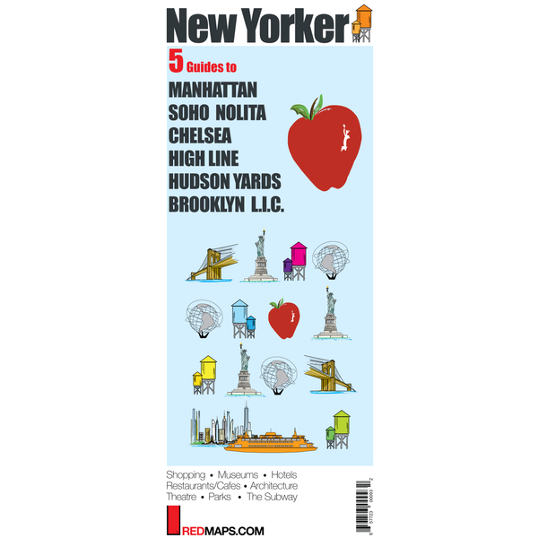 Multi-City map set called New Yorker with 5 guides to Manhattan, Brooklyn, SoHo, Hudson Yards and HighLine