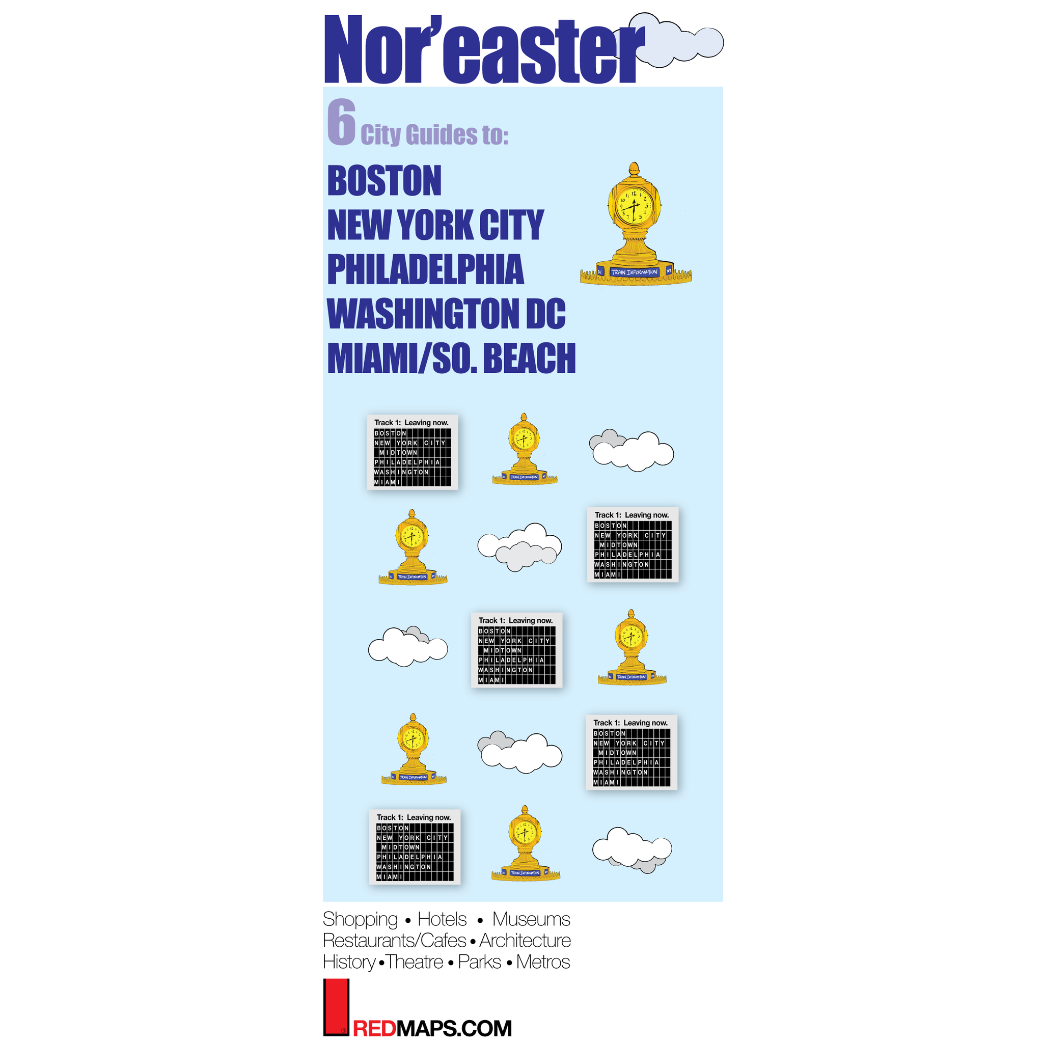 Multi-City map set called Nor'easter with 6 cultural guides to Boston, NYC, Philadelphia, Washington,DC and Miami