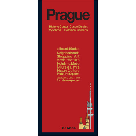 foldout map of Prague with a red cover