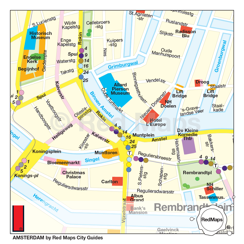 amsterdam map. amsterdam city guide by red maps