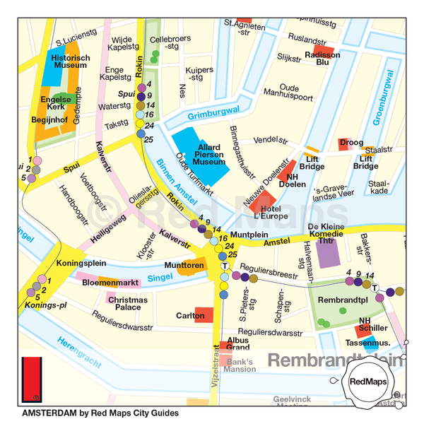 Amsterdam map that shows the museums, trams stations, hotels and landmarks near Rembrandtplein and the Bloemenmarkt.