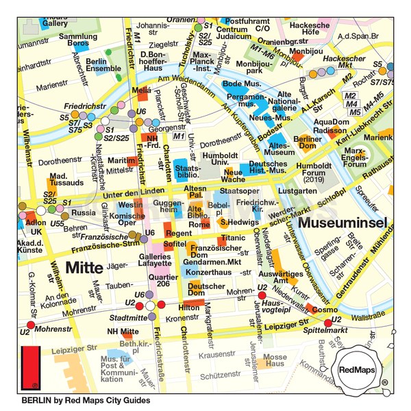 Berlin map that shows the metro stations, trams, museums, shopping and historic landmarks of the Mitte and Museuminsel.